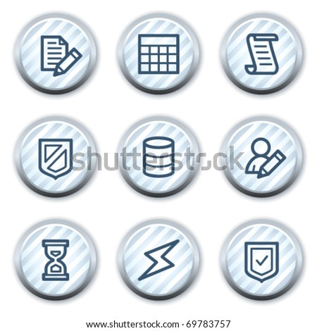 Database web icons, stripped light blue circle buttons - stock vector