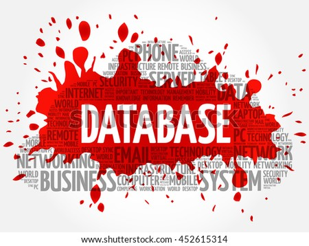 Database word cloud collage, business concept background - stock vector