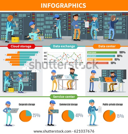 Datacenter Engineers Infographic Concept Repair Diagnostic Stock