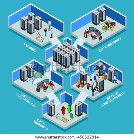 Datacenter isometric concept with data security server room data transfer and cloud technology 3d compositions flat vector illustration - stock vector