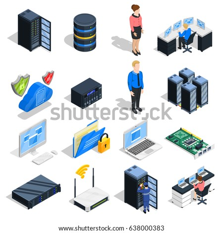 Datacenter isometric icons collection of sixteen isolated computer and head-end equipment images with human characters vector illustration