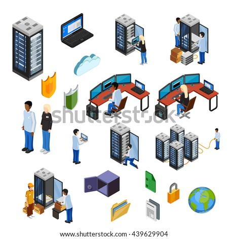 Datacenter isometric icons set of server hardware data security technical specialists using it technology flat vector illustration     - stock vector
