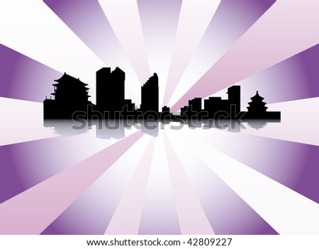 Datalnyj silhouette of the city - stock vector
