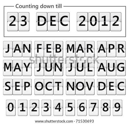 date counter flip display illustration - stock vector