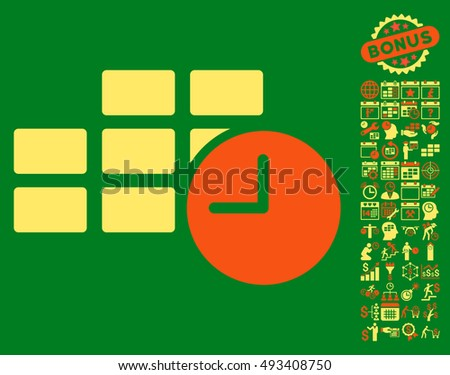 Date Time pictograph with bonus calendar and time management icon set. Vector illustration style is flat iconic bicolor symbols, orange and yellow colors, green background.