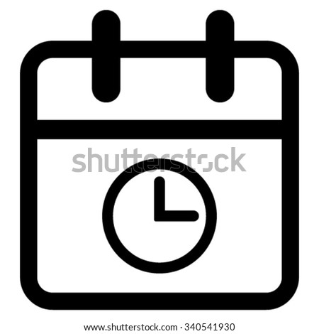 Date Time vector icon. Style is flat symbol, black color, rounded angles, white background. - stock vector