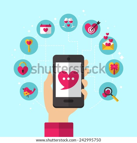 Dating smartphone app concept with flat icons design. Valentine's Day holiday icons