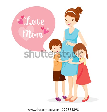 Daughter And Son Hugging Pregnant Mother, Embracing, Hug, Mother's Day, Children, Love, Family  - stock vector