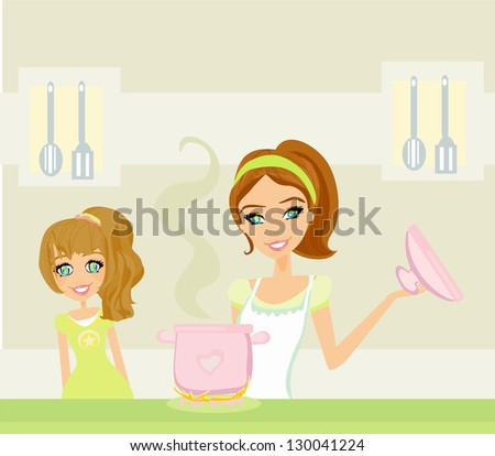 Daughter looking at her mother cooking - stock vector