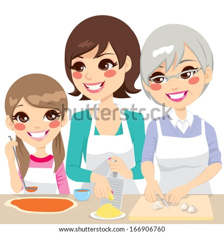 Daughter, mother and grandmother family together cooking a delicious homemade pizza with fresh ingredients - stock vector