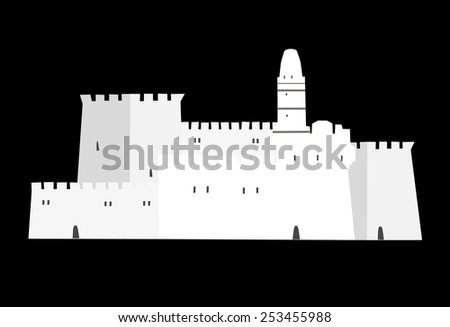 David Tower, Old City, Middle East Town, Jerusalem, Vector Illustration - stock vector