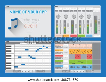 DAW, music production software (digital audio workstation). Vector template - stock vector