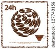 Day and Night Cup of Coffee with Beans Design - Vector Illustration - stock photo
