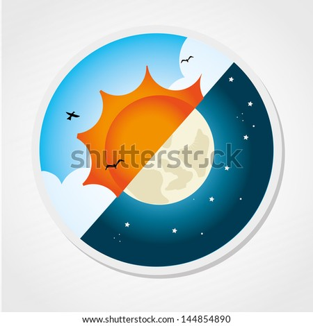 day and night design over gray background vector illustration - stock vector