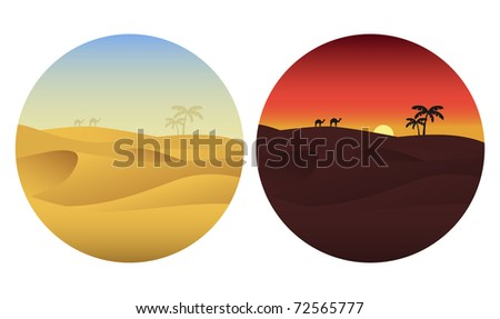 Day and night in desert. Vector illustration. - stock vector