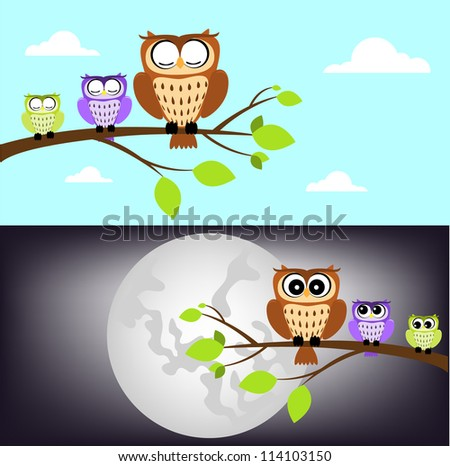 day and night owl - stock vector