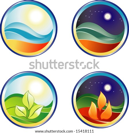 Day and night sign button - stock vector