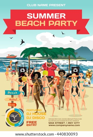 Day beach, dj with sound system, crowd women in bikinis. Vector template summer party poster.