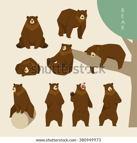 Day of a brown bear - stock vector