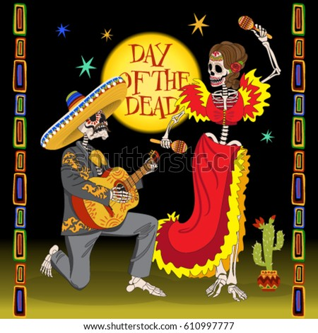 Day of the dead card. Dancing skeletons