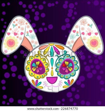 Day of The Dead colorful Skull Rabbit with floral ornament - stock vector