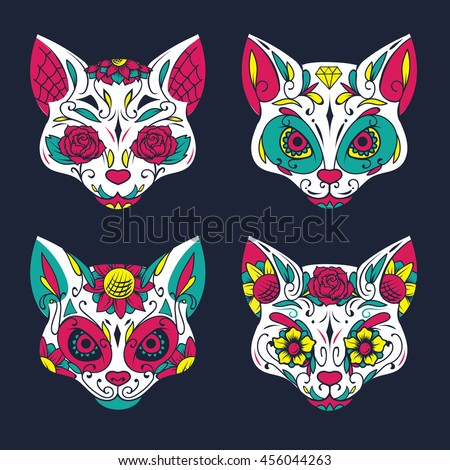 day dead colorful sugar cat skull stock vector 456044263