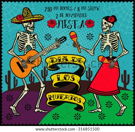 Day of the Dead (Dia de los Muertos). The skeleton dance.  - stock vector