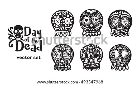 Day Of The Dead. Floral ornamental skulls. Set of black and white vector illustrations.