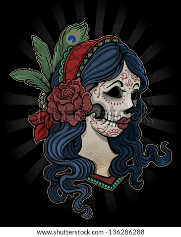 Day of the Dead Girl with Flower - stock vector
