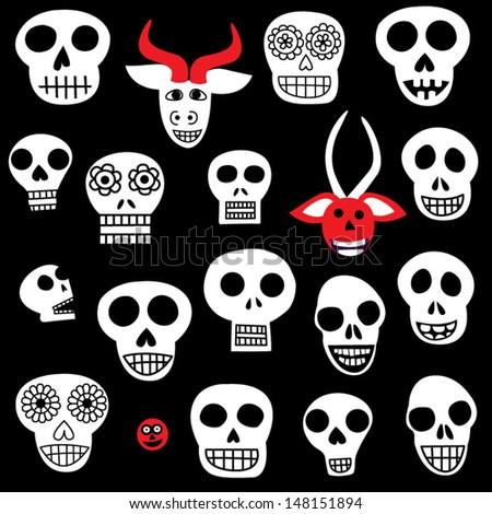 day of the dead mexican folk art halloween mask skull isolated vector collection - Mexican Halloween Skulls