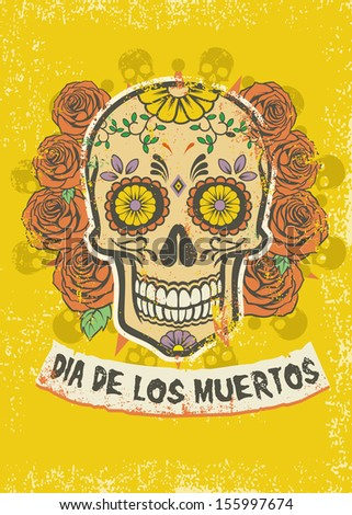 Day of the dead poster - stock vector