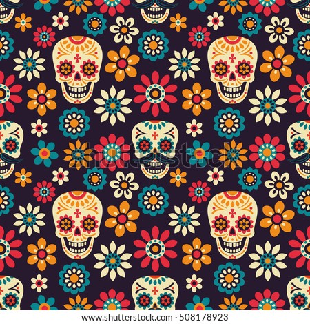 Day Of The Dead Seamless Vector Pattern With Sugar Skulls And Flowers On Dark Background