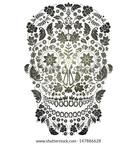 day of the dead skull - stock vector