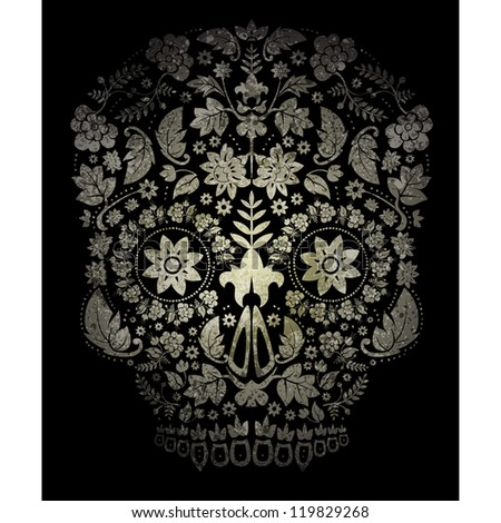 day of the dead skull background - stock vector