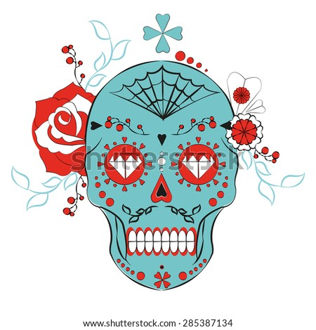 Day of the dead. Skull illistration. Colorful skull with flower and heart ornamens. Sugar skull. Dia de los Muertos icon - stock vector