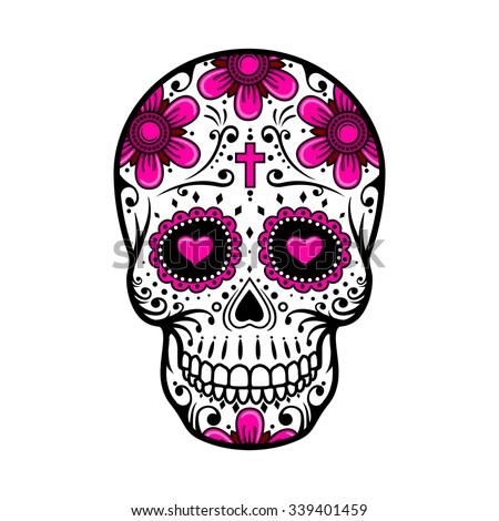 Day dead skull skull sugar flower stock vector 339401459 shutterstock day of the dead skull skull sugar flower skull tattoo vector illustration mightylinksfo
