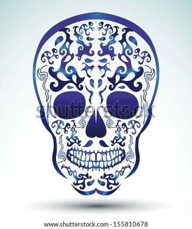 Day of the Dead Skull - tattoo skull - stock vector