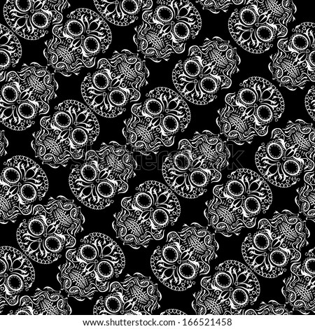 Day of the Dead skull tile repeating pattern - stock vector