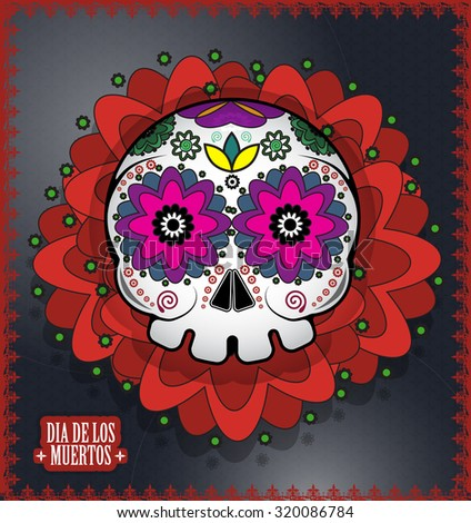 Day Of The Dead Skull Vector background. Dia de los muertos - stock vector