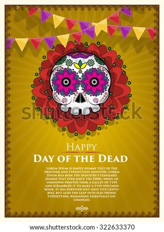 Day Of The Dead Skull Vector poster background. Dia de los muertos - stock vector