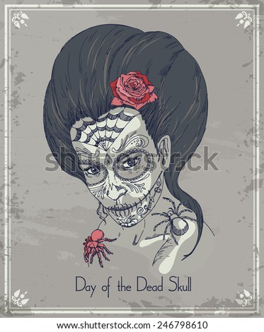 Day of the dead skull. Woman with calavera makeup. - stock vector