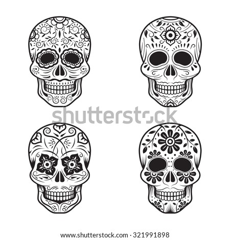 Day of the Dead Skulls, Black and White Set, White or Light Background - stock vector
