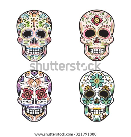 Day of the Dead Skulls, Colorful Set - stock vector