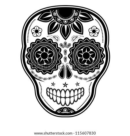 Day of the dead sugar skull - stock vector
