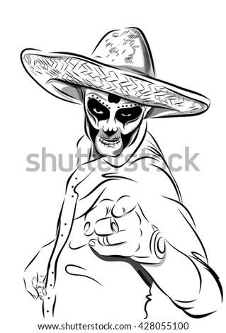 Day of the dead sugar skull man vector. Mexican skull. Dia de los muertos. EPS10 illustration. - stock vector