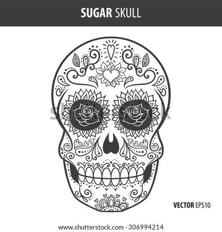 Day of the dead sugar skull vector. Mexican skull. Day of the dead skull. Dia de los muertos skull illustration. EPS10 vector illustration. Easy editable. - stock vector