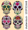 Day of the dead vector illustration set - stock