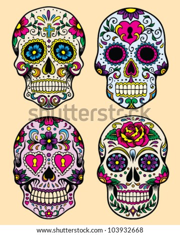 Day of the dead vector illustration set - stock vector
