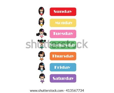 day of the week on white background.cute cartoon. - stock vector