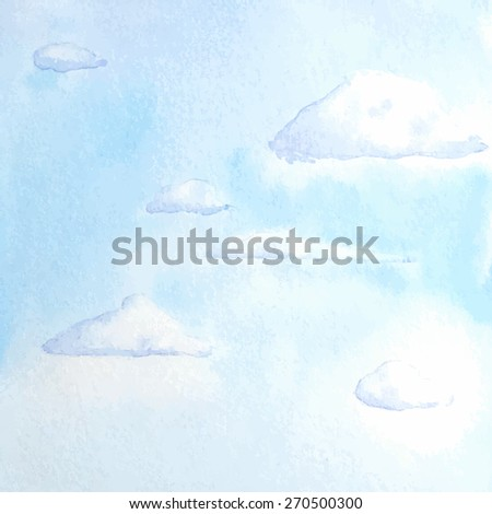 Day sky with clouds. Vector watercolor hand drawn background. - stock vector